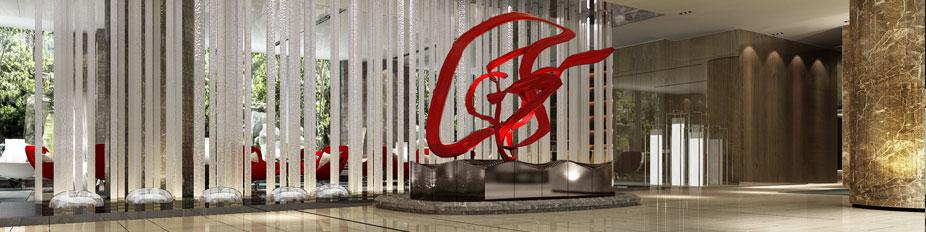 西安天骊君廷大酒店大堂水柱景观